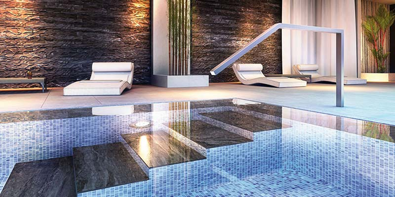 Swimmingpool, Schwimmbad, Mosaik-Linie