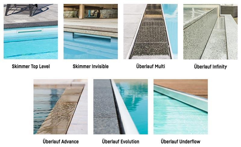 Beckentypen, Pool-typen, Schwimmbad, Swimmingpool