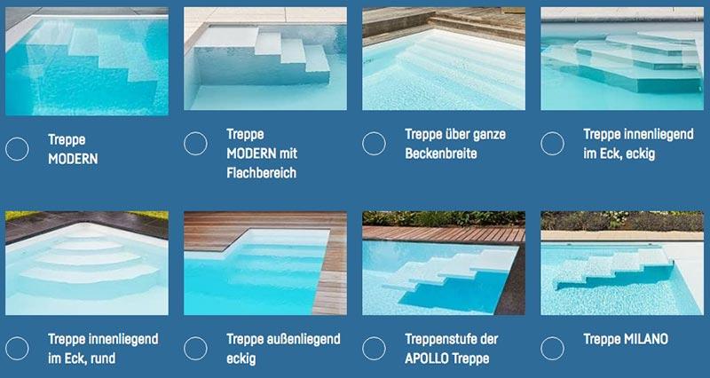 Pool-Treppen, Schwimmbad-Treppen, Swimmingpool-Treppen